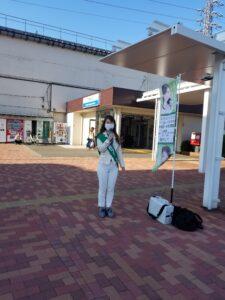 いしとびかおり、武蔵砂川駅で朝のごあいさつ